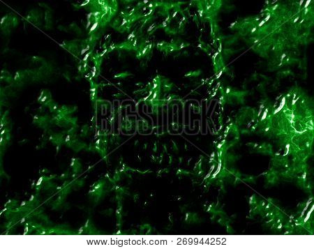 Angry Bloody Ghoul Face. Illustration In Genre Of Horror. Green Background Color.