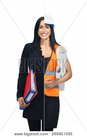 Happy Girl In Two Occupations Of Accountant And Architect Isolated On White Background. Architect We