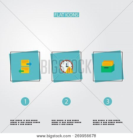 Set Of Project Icons Flat Style Symbols With Task Box, Deadline, Arrange Task And Other Icons For Yo