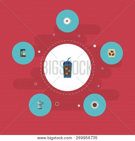 Set of beverage icons flat style symbols with percolator, cup, espresso and other icons for your web mobile app logo design. poster