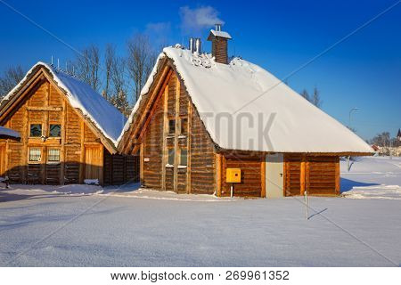 Pruszcz Gdanski, Poland - January 6, 2017: Architecture of ancient trading factory village at winter in Pruszcz Gdanski, Poland. Pruszcz Gdanski is growing industrial town neighbouring to Gdansk.
