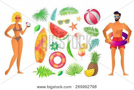 Summer Party Banner Vector. Woman In Bikini With Coconut, Man In Swimming Shorts, Inflatable Ring An
