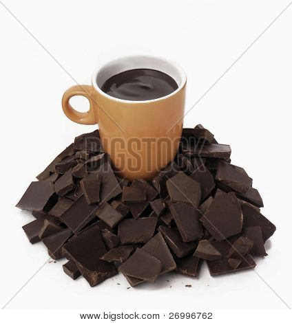 Cup on pieces of chocolate.  Hot chocolate and pieces.