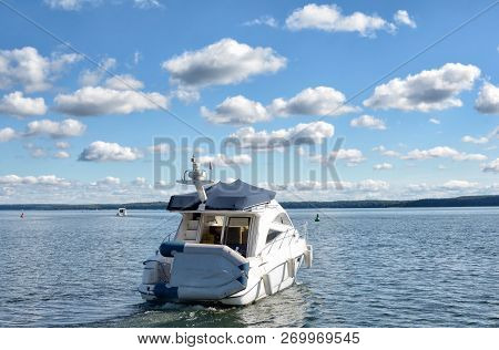 Motor Boat In Mueritz National Park In Mecklenburg Lake District,germany