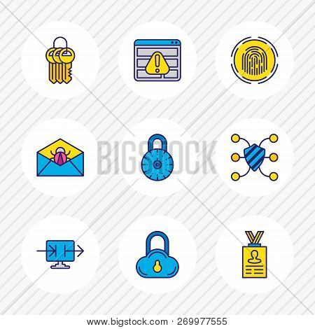 Illustration Of 9 Security Icons Colored Line. Editable Set Of Strong Password, Access Denied, Perso