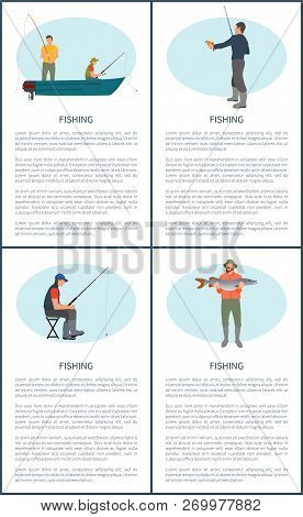 Fishing Poster Or Flyer Set. Fisherman In Motorboat Waiting For Rise, Sitting Man With Rod, Fisher W