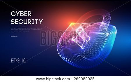Coputer Internet Cyber Security Background. Cyber Crime Vector Illustration. Digital Lock Vector Ill