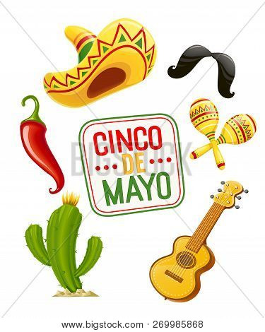 Cactus, Sombrero, Guitar, Moustache, Pepper, Maracas. Set For Cinco De Mayo Celebration. Mexicano Et