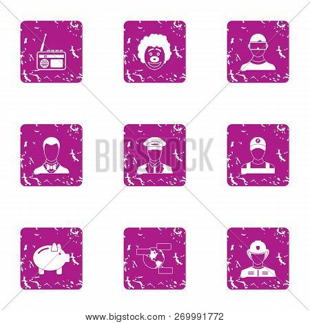 Executive Icons Set. Grunge Set Of 9 Executive Icons For Web Isolated On White Background
