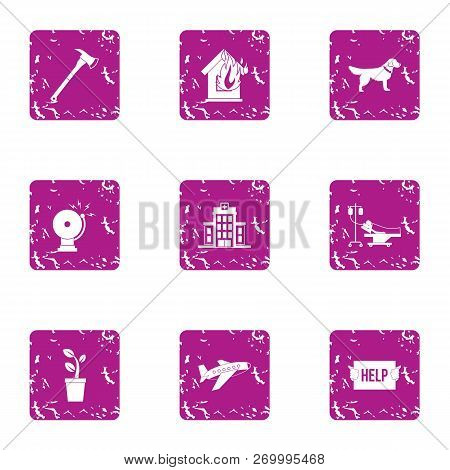 Outside Help Icons Set. Grunge Set Of 9 Outside Help Icons For Web Isolated On White Background