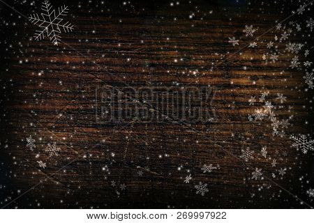Background Christmas, New Year.dark Wood Texture With White Snowflakes.  Christmas Card, White Snow,