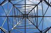 Power line support tower from underneath with clear sky above. poster