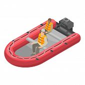 Migrant boat icon. Isometric of migrant boat vector icon for web design isolated on white background poster