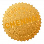 CHENNAI gold stamp medallion. Vector golden medal with CHENNAI text. Text labels are placed between parallel lines and on circle. Golden skin has metallic effect. poster