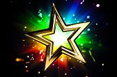 Gold star against multicolor shiny background poster