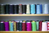 Fiber Fabric Roller on bobbin and light ropes Yarn Photo poster