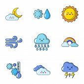 Weather dilemma icons set. Flat set of 9 weather dilemma vector icons for web isolated on white background poster