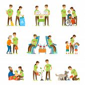 Volunteers and charity set vector isolated icons set. Donate to orphans, blood donation, help elderly people. Feeding homeless and dogs, growing trees poster