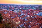 Amazing Graz cityscape red rooftops sundown view, Styria region of Austria poster