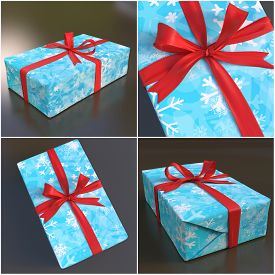 Collage. Blue Gift Box With Red Bow And Snowflaks On White And Black Background. 3d Rending
