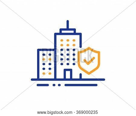 Apartment Insurance Hand Line Icon. Risk Coverage Sign. Building Protection Symbol. Colorful Thin Li