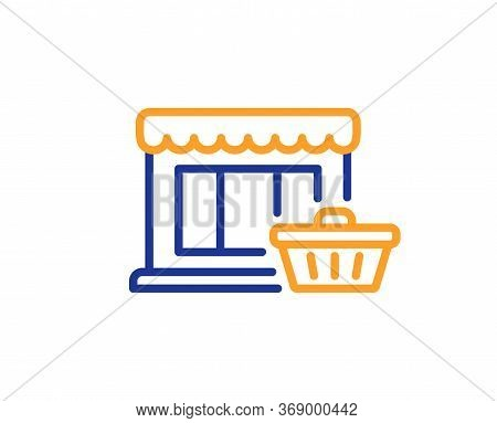 Marketplace Line Icon. Shopping Store Sign. Customer Cart Symbol. Colorful Thin Line Outline Concept