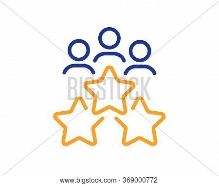 Business Meeting Line Icon. Employee Nomination Sign. Teamwork Rating Symbol. Colorful Thin Line Out