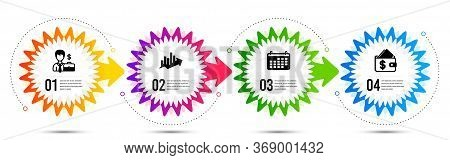 Growth Chart, Calendar And Businessman Case Icons Simple Set. Timeline Steps Infographic. Wallet Sig