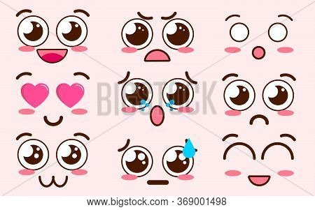 Collection Of Cute Lovely Kawaii Emoticon Emoji Doodle Cartoon Face , Smile , Happy , Wink , Excited