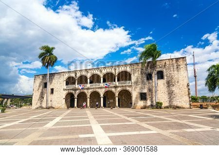 View Of Alcazar De Colon Diego Columbus Residence From Spanish Square With Blue Sky. Famous Colonial