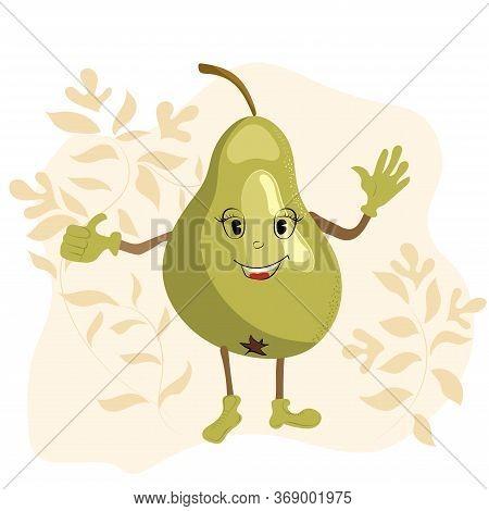 Green Positive, Smiling Pear. Positive Character. Cartoon Illustration. Modern Card Design.