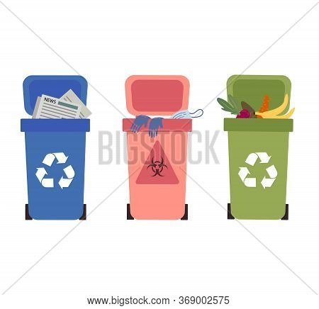 Proper Waste Disposal Without Polluting.waste Collection, Segregation And Recycling Garbage Separate