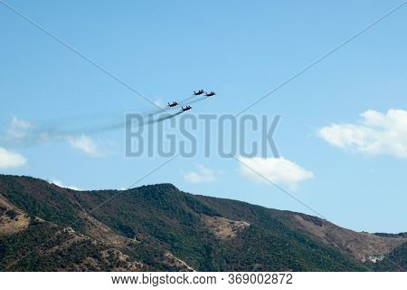 Russia, Gelendzhik August 30, 2014 Aerobatic Team Swifts Performed Aerobatics At The Air Show In Gel
