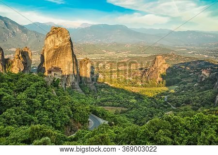 Panoramic View Of Rocks And Monastery At Meteora In Sunrise, Trikala Region, Greece