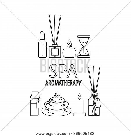 Aromatherapy Spa, Set Of Outline Icons With White Fill, Aroma Sticks With A Bottle And Candles And S