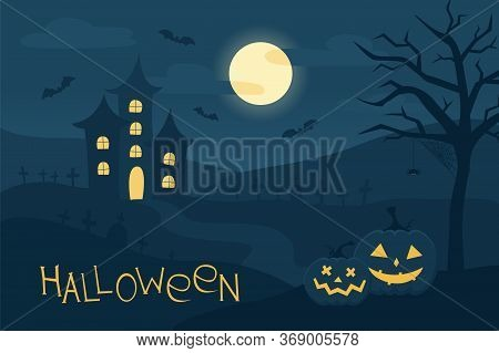 Happy Halloween Background With Carved Face Pumpkins, Bats, Spider, Graves, And Spooky Old House. Co