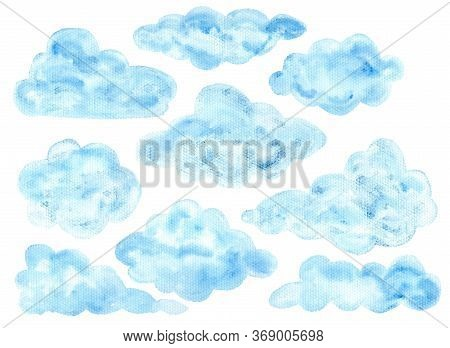 Cute Colorful Watercolor Blue Fluffy Cloud Elements. Hand Painted Watercolour Textured Clouds For Ki