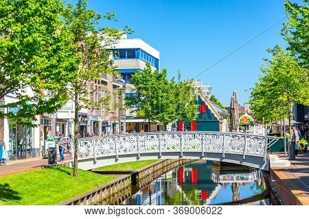 Zaandam, The Netherlands - May, 2018: The Shopping Street In The Center Of Zaandam During Sunny Day