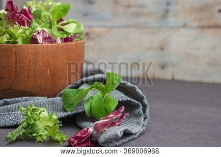 Salad Mix With Rucola. Fresh Vegetable Salad, Healthy Food, Salad Leaves. Dietary Food Concept. Vege