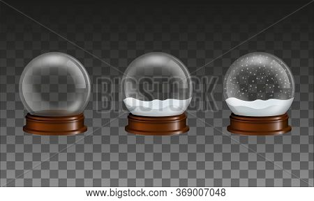 Set Of Transparent Glass Snow Globes. Empty Globe And Globes With Snow And Falling Snow.