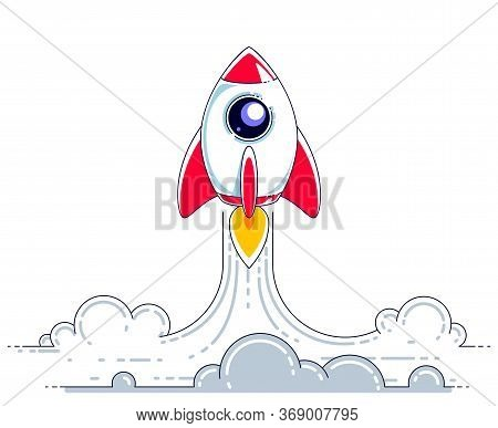Rocket Launch Into Undiscovered Space. Explore Universe, Breathtaking Space Science. Thin Line 3d Ve