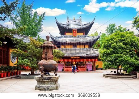 Shanghai, China - May, 2019: Backyard Interior Of Longhua Temple In Shanghai, China. Famous Buddhist