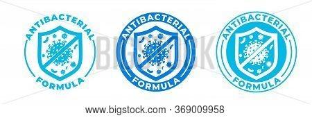 Antibacterial Hand Gel Icon, Vector Shield Logo, Anti Bacterial Formula Antiseptic Hand Wash. Covid