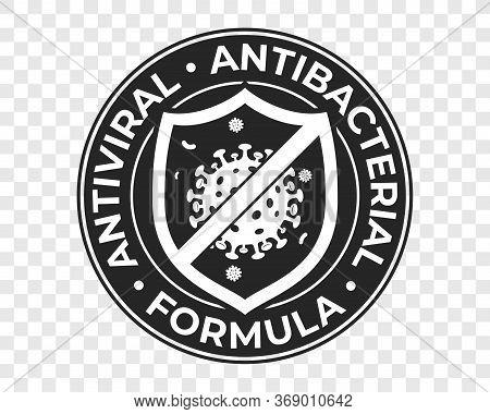 Antibacterial Hand Gel Icon, Anti Bacterial Formula Shield And Virus Vector Logo. Antiseptic Hand Wa