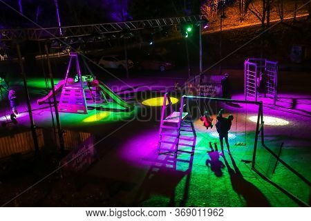 Zagreb, Croatia - 16 March, 2018 : People In A Illuminated Children Park During Festival Of Lights I