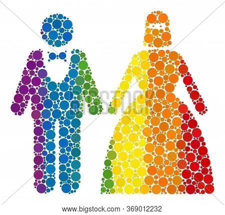 Muslim Marriage Couple Mosaic Icon Of Circle Elements In Various Sizes And Rainbow Multicolored Colo