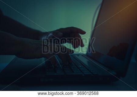 Attack Signifying Internet Theft While Using Online Banking, Hacker Or Cyber Crime Hand Reaching, St