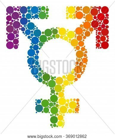 Polyandry Sex Symbol Composition Icon Of Round Dots In Various Sizes And Rainbow Colored Color Tinge