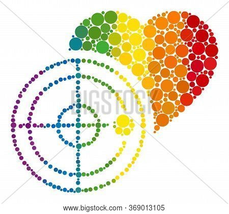 Love Heart Radar Composition Icon Of Circle Spots In Variable Sizes And Rainbow Colorful Color Tones