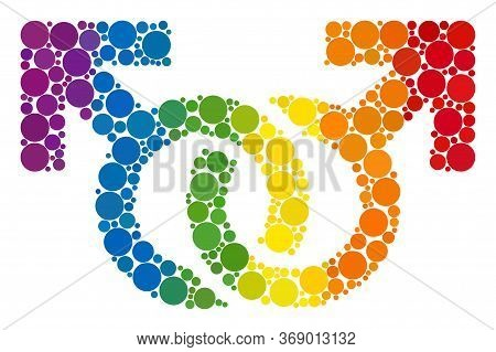 Gay Pair Symbol Composition Icon Of Circle Elements In Variable Sizes And Spectrum Color Tints. A Do